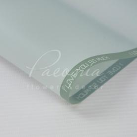 Калька флористическая листовая 60см*60см матовая с надписью по канту светло-голубой
