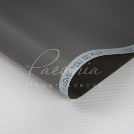 Калька Флористична листова 60см*60см матова з написом по канту сірий