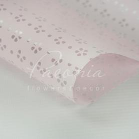 Калька флористична матова листова з перфорацією і з прозорою плівкою ніжно-рожева 60см * 60см