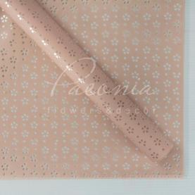 Калька флористична матова листова з перфорацією і з прозорою плівкою пудрова 60см * 60см