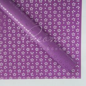 Калька флористична матова листова з перфорацією і з прозорою плівкою фіолетова 60см * 60см