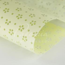 Калька флористична матова листова з перфорацією лимонна 60см * 60см