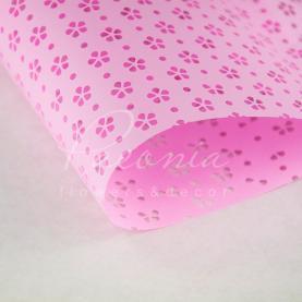 Калька флористична матова листова з перфорацією рожева 60см * 60см