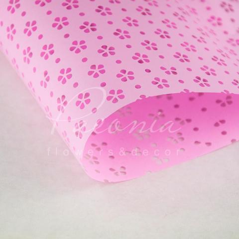 Калька флористическая листовая 60см*60см матовая с перфорацией розовый