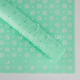 Калька флористична матова листова з перфорацією яскраво-м'ятна 60см * 60см