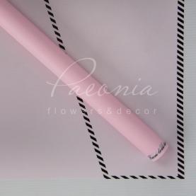Калька флористична матова листова з принтом конверт ніжно-рожева 60см * 60см