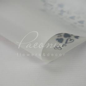 Калька флористична матова листова з серцями біла 60см * 60см