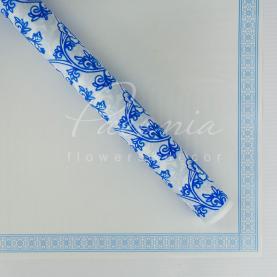 Калька Флористична листова 60см*60см матова з квітковим кантом и квітковим візерунком блакитна