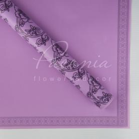 Калька флористична матова листова з квітковим кантом і квітковим візерунком лавандова 60см * 60см