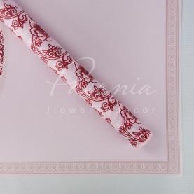 Калька флористическая листовая 60см*60см матовая с цветочным кантом и цветочным узором розовая