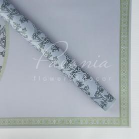 Калька Флористична листова 60см*60см матова з квітковим кантом и квітковим візерунком сіра