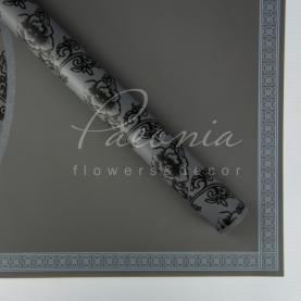 Калька флористична матова листова з квітковим кантом і квітковим візерунком чорна 60см * 60см