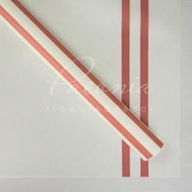 Калька флористическая листовая 60см*60см матовая с широкими красными полосками белый