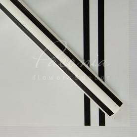 Калька флористична матова листова з широкими чорними смужками біла 60см * 60см