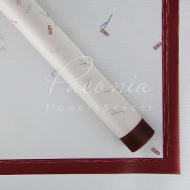 Калька флористическая листовая 60см*60см полупрозрачная буквы с кантом коричневый