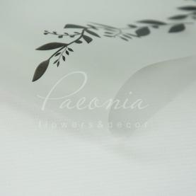 Калька флористическая листовая 60см*60см полупрозрачная с принтом веточка черный