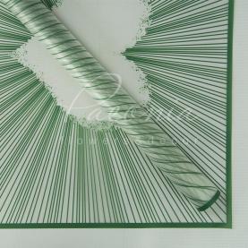 Калька Флористична листова 60см*60см напівпрозора з принтом серце зелений