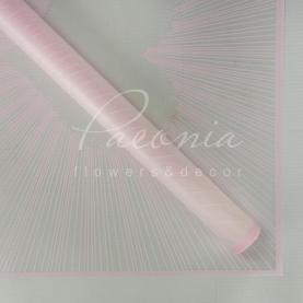 Калька Флористична листова 60см*60см напівпрозора з принтом серце ніжно-рожевий