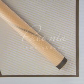 Калька Флористична листова 60см*60см напівпрозора з куточком и кантом білий персиковий