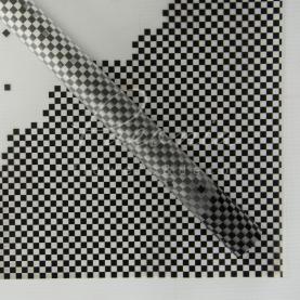 Калька флористична напівпрозора листова з принтом чорні точки 60см * 60см