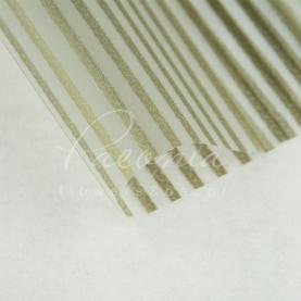 Калька флористична прозора листова з принтом золоті смужки 60см * 60см
