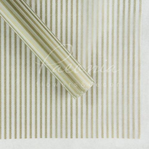 Калька флористическая листовая 60см*60см прозрачная золотые полоски