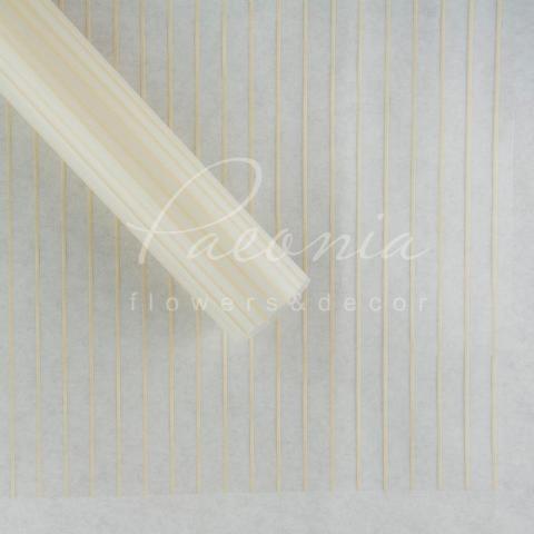 Калька флористическая листовая 60см*60см прозрачная персиковые тонкие полоски