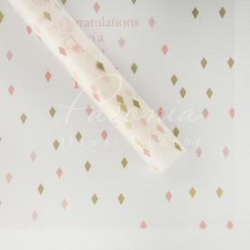 Калька флористична прозора листова з принтом пудрові ромбики 60см * 60см