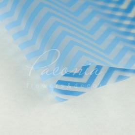 Калька Флористична листова 60см*60см прозора з принтом зигзаг блакитний
