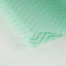 Калька флористична прозора листова з принтом м'ятний зигзаг 60см * 60см