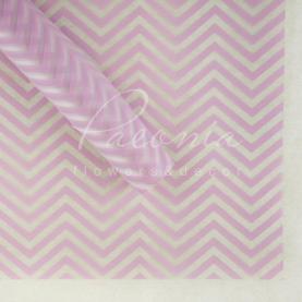 Калька флористична прозора листова з принтом бузковий зигзаг 60см * 60см