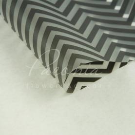 Калька флористична прозора листова з принтом чорний зигзаг 60см * 60см