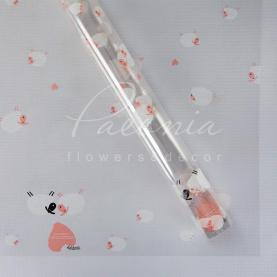 Калька флористическая прозрачная листовая с принтом нежно-розовые овечки 60см*60см