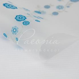 Калька флористична прозора листова з принтом блакитні квіти 60см * 60см