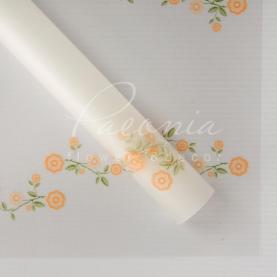 Калька Флористична листова 60см*60см прозора з квітами помаранчевый