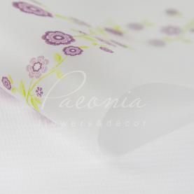 Калька флористическая листовая 60см*60см прозрачная с цветами фиолетовый