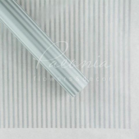 Калька флористическая листовая 60см*60см прозрачная серебрянные полоски