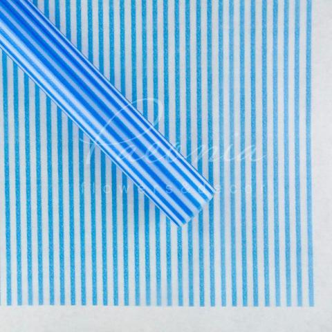 Калька флористическая прозрачная листовая с принтом синие полоски 60см*60см