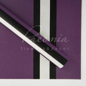 Калька флористическая листовая 60см*60см с широкой полосой фиолетовый