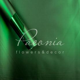 Калька флористична матова металізована листова двостороння темно-зелена 60см * 60см