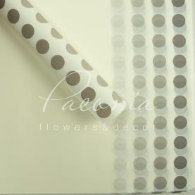 Калька флористична матова листова з принтом фіолетовий горох біла 60см * 60см