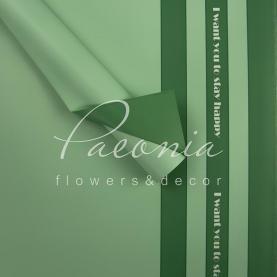 Калька флористична листова з принтом зелені смуги м'ятна 60см * 60см