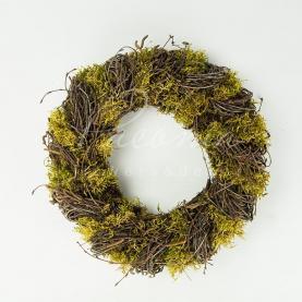 Каркас для декративного вінка из натуральної лози з мохом d 30см
