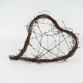 Каркас серце для букета з гілочок мюленбекії натуральний 25*32см