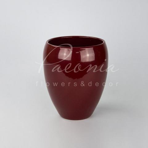 Кашпо керамическое красное глянцевое Ø17см h24см