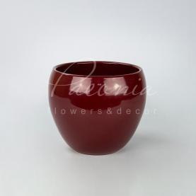 Кашпо керамічне червоне глянсове Ø19см