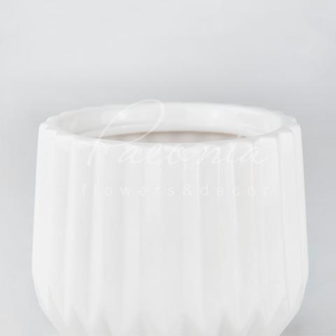 Кашпо керамическое оригами белое Ø10см h11см