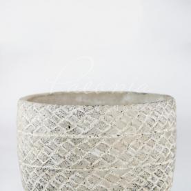 Кашпо керамічне рогожка сіре Ø13,5см h14см