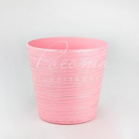 Кашпо керамическое розовое перламутровое Ø13см h13см