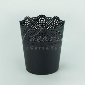 Кашпо пластикове антрацит LACE DLAC115 L Ø11,2см h13см
